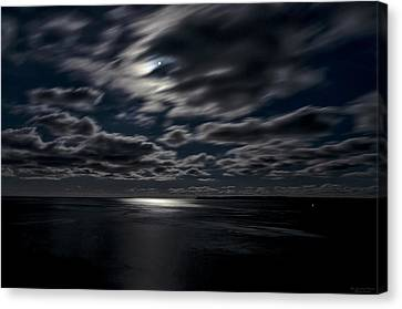 Full Moon On The Bay Of Fundy Canvas Print by Marty Saccone