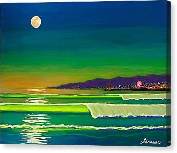 Full Moon On Venice Beach Canvas Print by Frank Strasser
