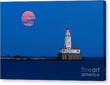 Full Moon Over Chicago Harbor Lighthouse Canvas Print by Katherine Gendreau