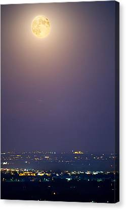 Full Moon Over City Lights Canvas Print by James BO  Insogna