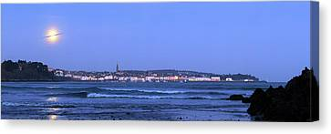 Full Moon Over Coastal Town Canvas Print by Laurent Laveder