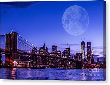 Full Moon Over Manhattan II Canvas Print by Hannes Cmarits