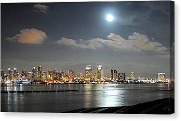 Full Moon Over San Diego Canvas Print by Mountain Dreams