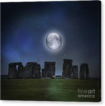 Full Moon Over Stonehenge Canvas Print by Juli Scalzi