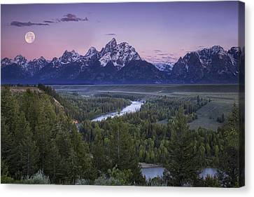 Full Moon Over The Mountains Canvas Print by Andrew Soundarajan