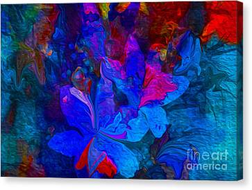 Fun Abstract Flowers In Blue Canvas Print by Sherri  Of Palm Springs