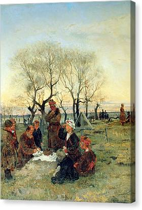 Funeral Repast At The Grave, 1884 Oil On Canvas Canvas Print by Vladimir Egorovic Makovsky