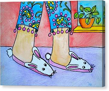 Funny Bunny Slippers Canvas Print by Debi Starr