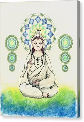 Fureai Quan Yin In Kyoto Canvas Print by Keiko Katsuta
