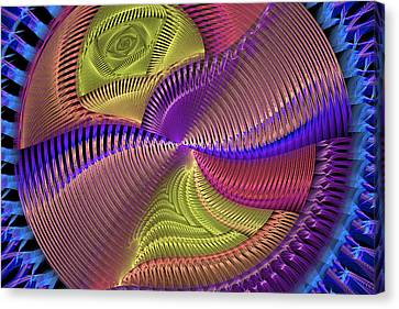 Futuristic Blue Pink And Yellow Tech Disc Fractal Flame Canvas Print by Keith Webber Jr