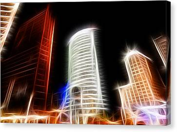 Futuristic Buildings In Berlin Potsdamer Platz Digital Art Canvas Print by Matthias Hauser