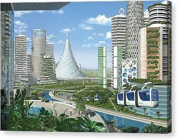 Futuristic Eco City, Conceptual Image Canvas Print by Science Photo Library