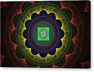 Futuristic Tech Circles Fractal Flame Canvas Print by Keith Webber Jr
