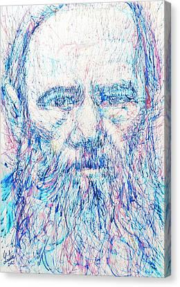 Fyodor Dostoyevsky / Colored Pens Portrait Canvas Print by Fabrizio Cassetta
