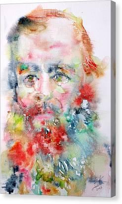 Fyodor Dostoyevsky - Watercolor Portrait.4 Canvas Print by Fabrizio Cassetta