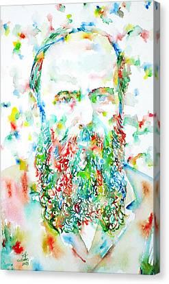 Fyodor Dostoyevsky / Watercolor Portrait Canvas Print by Fabrizio Cassetta
