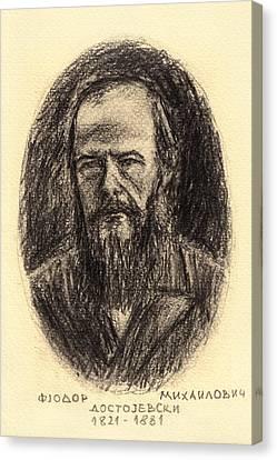 Fyodor Mikhailovich Dostoyevsky 1821-1881 Pencil Drawing Of Russian Writer Canvas Print by Nenad Cerovic
