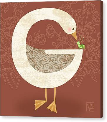 G Is For Goose Canvas Print by Valerie Drake Lesiak