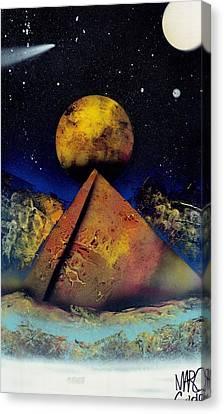 Galaxy Desert Pyramids Canvas Print by Marc Chambers