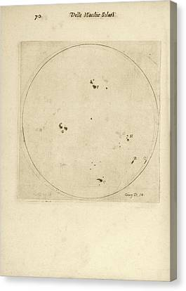 Galileo's Observation Of Sunspots Canvas Print by Library Of Congress