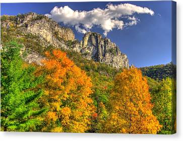 Galloping Cumulus Above Seneca Rocks - Seneca Rocks National Recreation Area Wv Autumn Mid-afternoon Canvas Print by Michael Mazaika