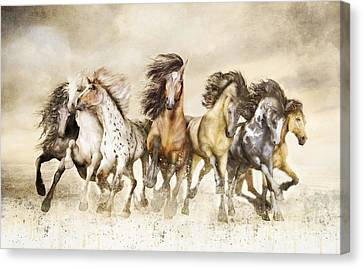 Galloping Horses Magnificent Seven Canvas Print by Shanina Conway