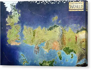 Game Of Thrones World Map Canvas Print by Gianfranco Weiss