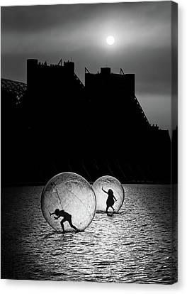 Games In A Bubble Canvas Print by Juan Luis Duran