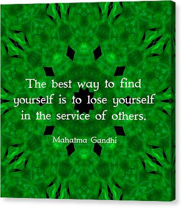 Gandhi Inspirational Quote About Self-help  Canvas Print by Quintus Wolf