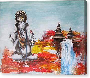 Ganesha Canvas Print by Casey Pretzeus