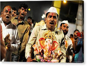 Ganesha Immersion Canvas Print by Money Sharma