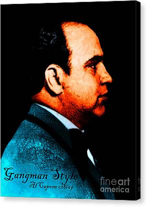 Gangman Style - Al Capone C28169 - Black - Painterly Canvas Print by Wingsdomain Art and Photography