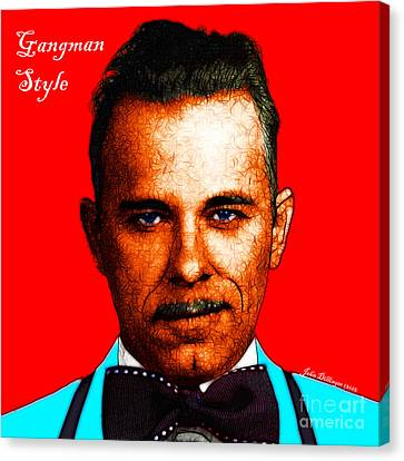 Gangman Style - John Dillinger 13225 - Red - Color Sketch Style - With Text Canvas Print by Wingsdomain Art and Photography
