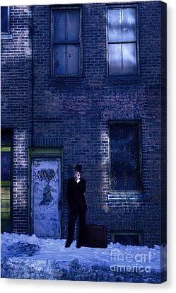 Gangster On A Dark Street Canvas Print by Diane Diederich