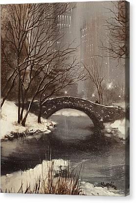 Gapstow Bridge Nyc Canvas Print by Tom Shropshire