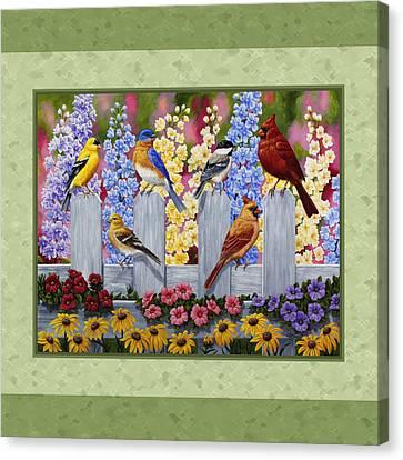 Garden Birds Duvet Cover Green Canvas Print by Crista Forest