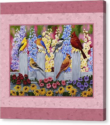 Garden Birds Duvet Cover Pink Canvas Print by Crista Forest