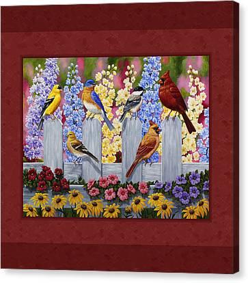 Garden Birds Duvet Cover Red Canvas Print by Crista Forest
