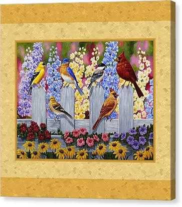 Garden Birds Duvet Cover Yellow Canvas Print by Crista Forest