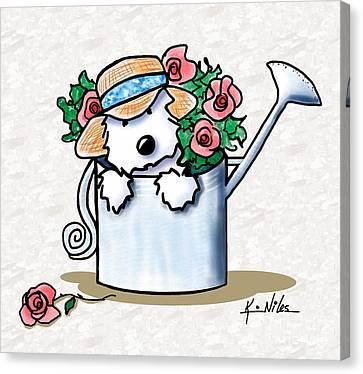 Garden Helper Westie Canvas Print by Kim Niles