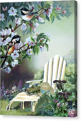 Chickadees In Blossom Tree Canvas Print by Gina Femrite