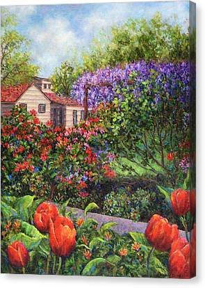 Garden With Tulips And Wisteria Canvas Print by Susan Savad