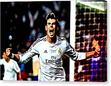 Gareth Bale Celebration Canvas Print by Brian Reaves