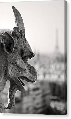 Gargoyle Notre Dame De Paris Canvas Print by Pierre Leclerc Photography