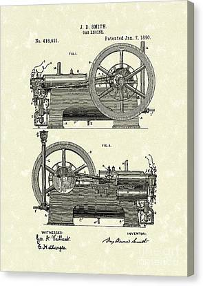 Gas Engine 1890 Patent Art Canvas Print by Prior Art Design