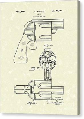 Gas Gun 1936 Patent Art Canvas Print by Prior Art Design