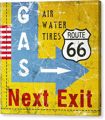 Gas Next Exit- Route 66 Canvas Print by Linda Woods