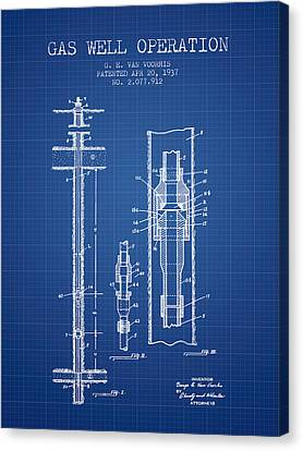 Gas Well Operation Patent From 1937 - Blueprint Canvas Print by Aged Pixel