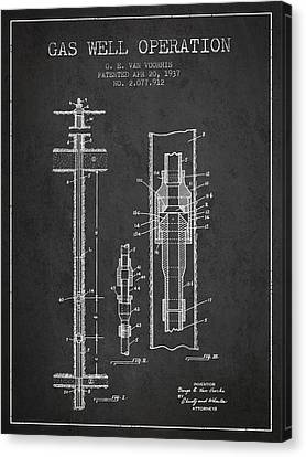 Gas Well Operation Patent From 1937 - Charcoal Canvas Print by Aged Pixel