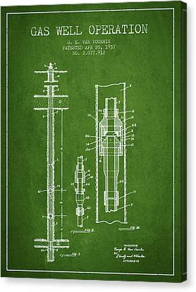 Gas Well Operation Patent From 1937 - Green Canvas Print by Aged Pixel